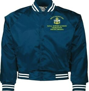 NAVAL SUPPORT ACTIVITY CHARLESTON SC NAVY EMBROIDERED 2-SIDED SATIN JACKET