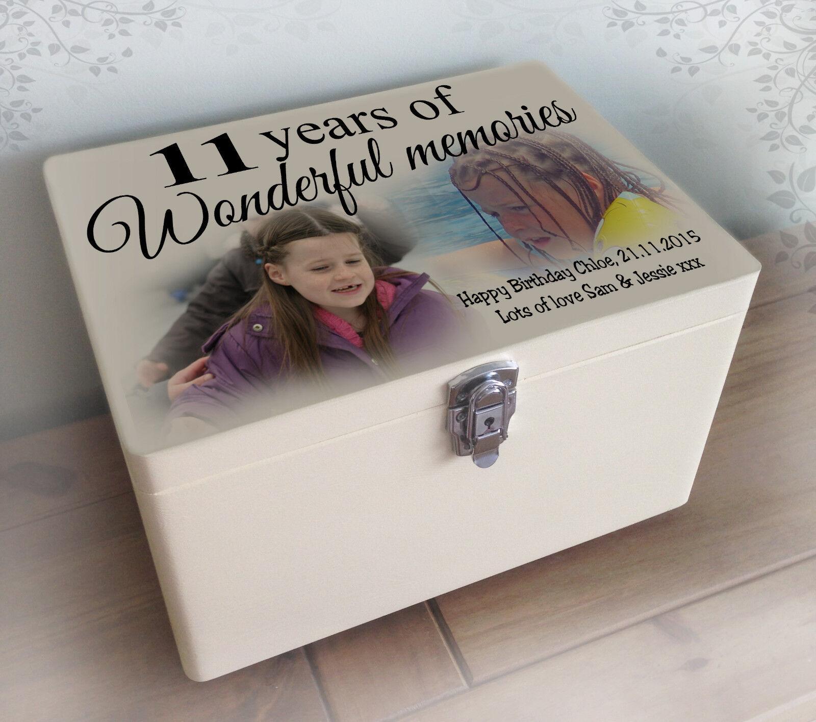 Luxury solid pine white wooden memory box, happy 11th birthday christmas gift