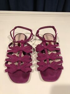 Carolina Herrera Suede Pink Bow Flat