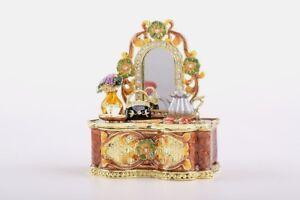Lady bag trinket box hand made by Keren Kopal /& Austrian crystals Faberge