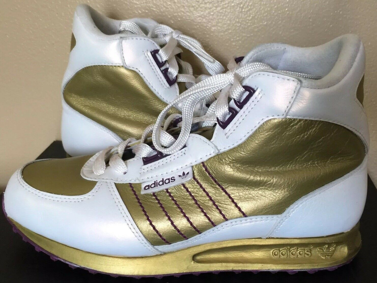 Adidas Women shoes Size 7 Hi Top gold White  with Purple Sole
