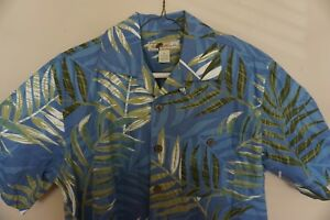 JOE-MARLIN-Mens-Hawaiian-Shirt-Size-Medium-M-Cotton-SS-Blue-EUC-Beach-Boat