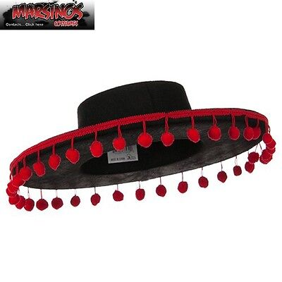 Adult Spanish Gaucho Hat Mexican Zorro Pom Poms Costume Accessory NEW