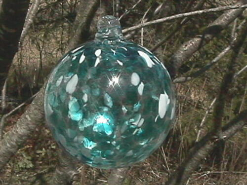 Hanging Glass Ball 4 Diameter Clear with Aqua Blue & White Specks (1) HGB30