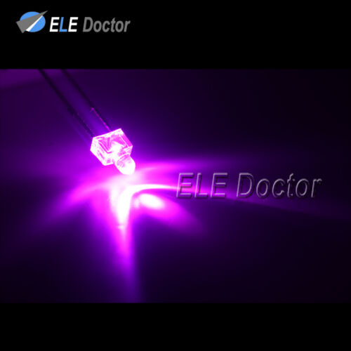 100pcs 2mm Water Clear Pink Light Round Top Transparent LED Diodes 16000Mcd