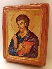 Saint Luke Lukas Catholic & Orthodox Byzantine Rose Gold Prayer Wooden Icon