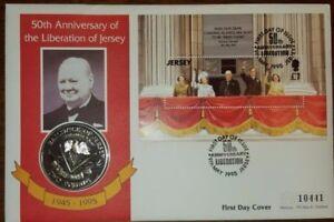 Cubierta-de-moneda-QEII-Jersey-PNC-1995-ve-Liberation-Dia-50TH-aniversario-2-moneda
