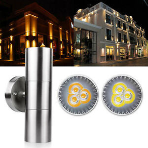 Modern-Stainless-Steel-Up-Down-Wall-Light-Bulb-IP54-Double-Outdoor-Sconce-Lamp