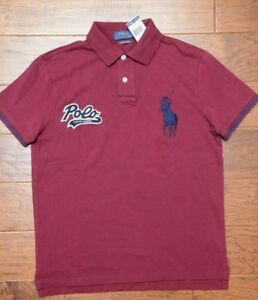 Polo Ralph Lauren Mens Big Pony Custom Slim Fit Burgundy Red Cotton Polo Shirt L