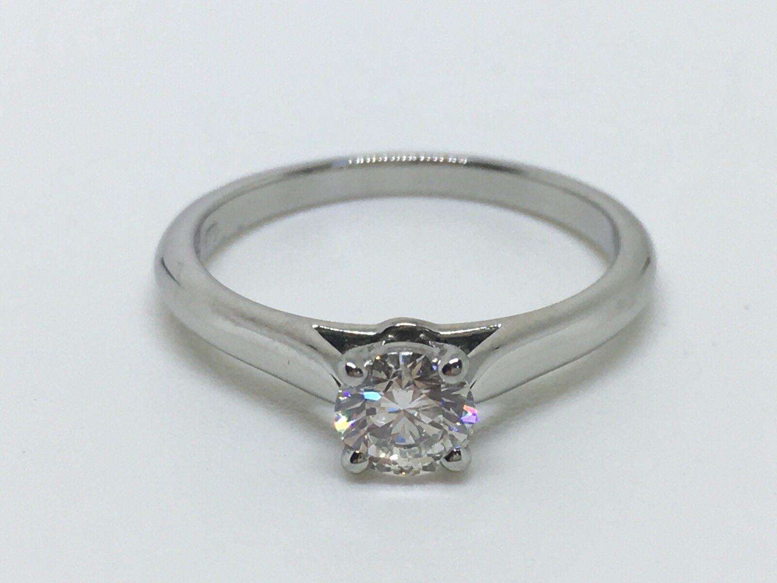 Cartier Diamond Platinum Round Solitaire Ring 0.31 ctw GIA Certificate Box