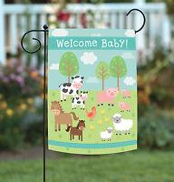 Toland - Welcome Baby - Cute Farm Animal Girl Boy Infant Garden Flag