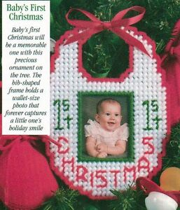 image is loading baby 039 s first christmas bib ornament plastic - Plastic Canvas Christmas Ornaments