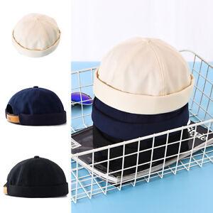42d5d8511c Details about Mens Cotton Adjustable French Brimless Hat Vogue Retro  Skullcap Sailor Cap UK