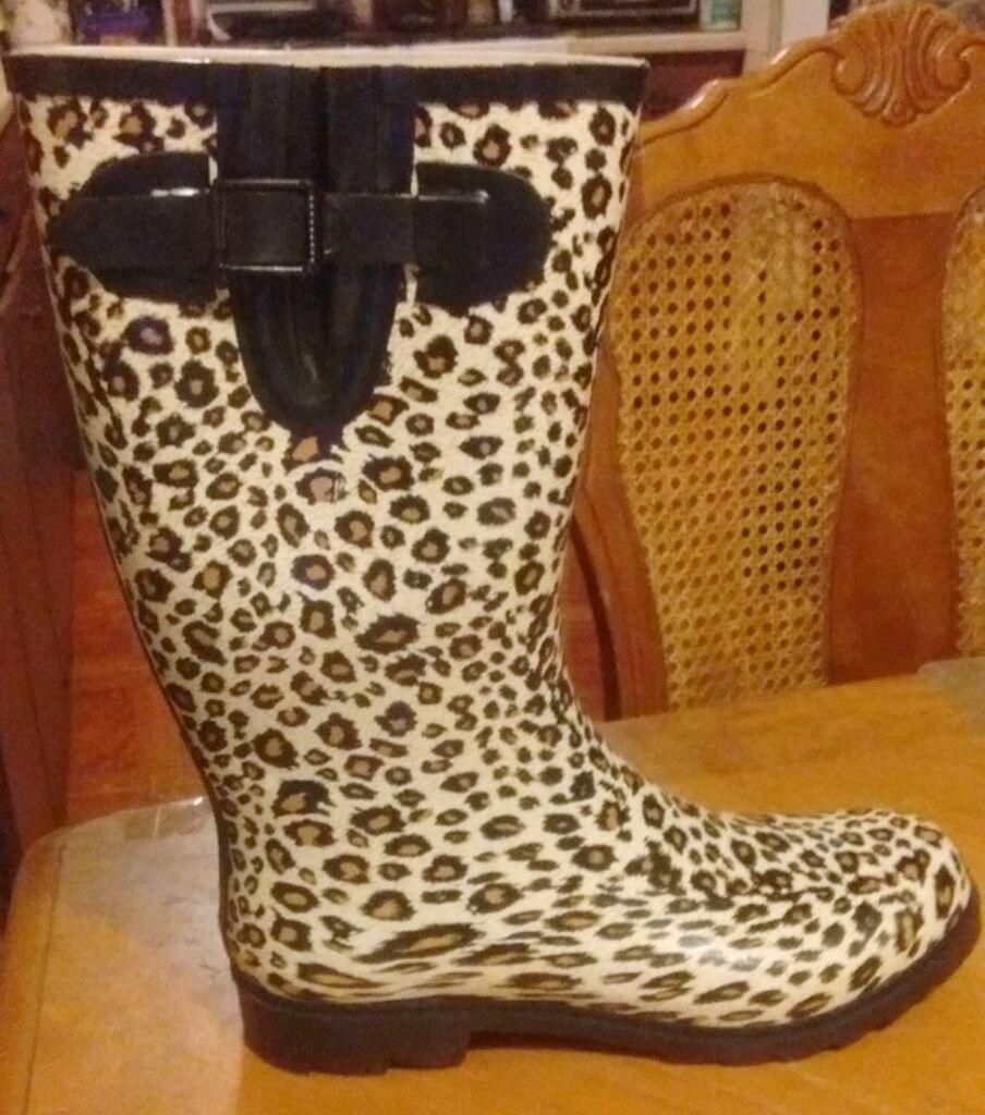 WOMEN CHEETAH PUDDLES RAIN GARDEN BOOT~HIGH/MID CALF BUCKLE STRAP ROUND TOE 6-10