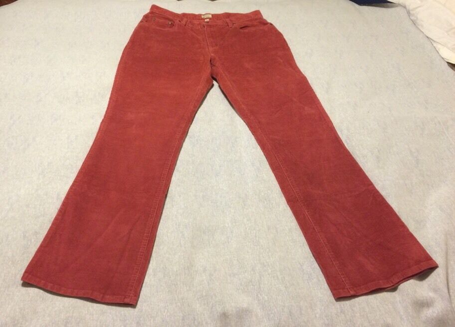 Women's L.L. Bean Red Corduroy Pants Size 16 Tall beb