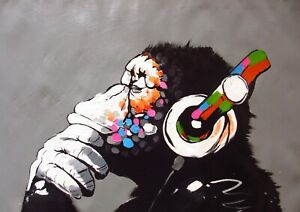 BANKSY ABSTRACT MONKEY GLOSSY WALL ART POSTER PRINT A1 - A5 SIZES AVAILABLE
