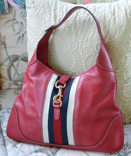 e8135b5631ad2 Authentic GUCCI Jackie O. Bouvier Red Leather Medium Hobo Handbag, Vintage,  1990