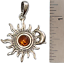 thumbnail 2 - Sun Pendant Crescent Moon Genuine Baltic Amber 925 Sterling Silver  # 54