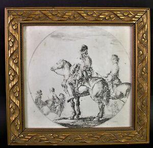 Stefano-DELLA-BELLA-1610-1664-SOLDATEN-HUSAREN-Radierung-auf-Buettenpapier
