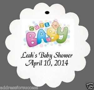 personalized cute baby baby shower favor scalloped tags party
