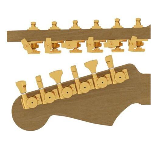 6 Inline Grip-Lock Open Bass Staggered Hipshot Guitar Tuner Upgrade Kit Gold