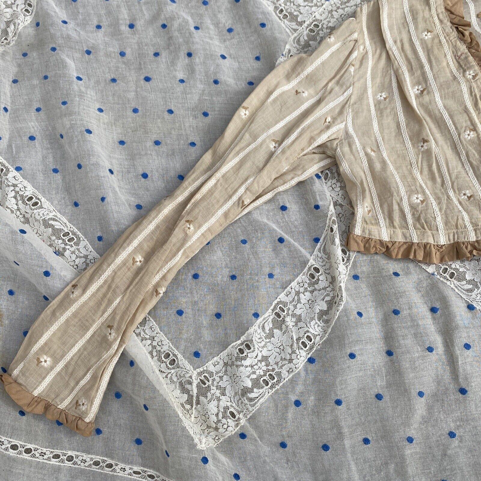 Antique Edwardian Ecru Cotton Blouse Top Embroide… - image 3