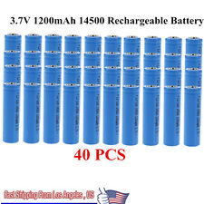 40pcs 3.7V 1200mAh ICR 14500 AA Li-ion Lithium Rechargeable Battery US STOCK VIP