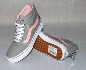 Details zu Vans Milton SK8 HI ZIP M'S Canvas Kinder Schuhe Sneaker 31 UK13 Grau Pink Weiß