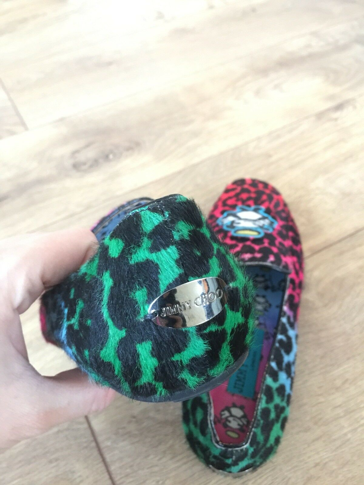 New Jimmy Choo Rob Pruitt Collection Leopard Calf Hair Hair Calf Loafers Shoes 35.5 $850 30d313
