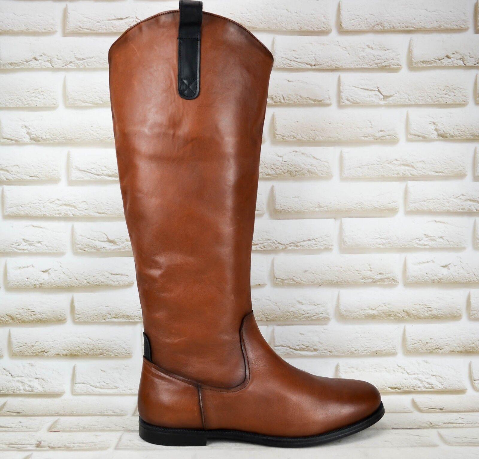 SEBAGO Plaza Brown Leather Womens Knee High Long Boot PORTUGAL Size 7.5 EU