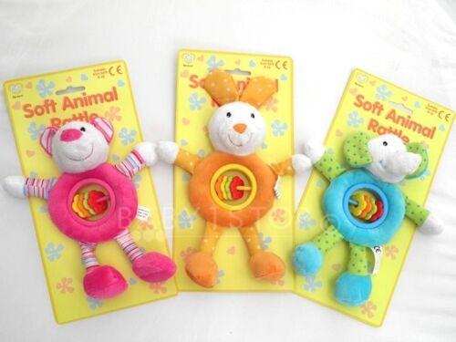 Baby Soft Large Animal Rattle Toy Plush Velour Designs Pink Blue Orange New