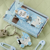 36 Blue Or Pink Baby Carriage Key Chain Favors Baby Shower Favor Boy Or Girl