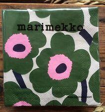 Marimekko paper napkins, 24x24cm, green pink Unikko, 20 cts decoupaging Finland