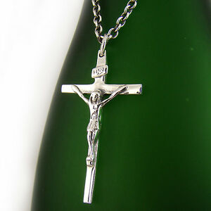 Mens sterling silver 925 jesus crucifix cross pendant chain necklace image is loading mens sterling silver 925 jesus crucifix cross pendant aloadofball Choice Image