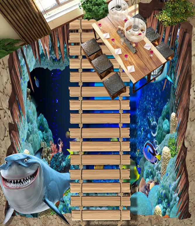3D Ozean Hai Fototapeten Wandbild Fototapete Tapete Familie DE Lemon