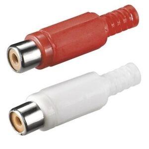 2-Stk-Chinch-Cinch-RCA-Stecker-Kupplung-Buchse-weiblich-zum-loeten-Loetversion