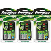 3 Pack Energizer Value Charger With Aa Rechargeable Nimh Batteries Chvcmwb-4 on sale
