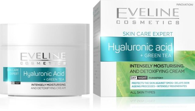 Eveline Hyaluronic Acid Green Tea Moisturising Detoxifying Day Night Face Cream
