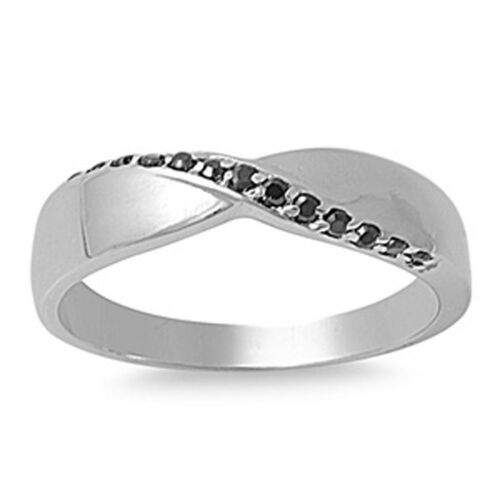 Black CZ Polished Criss Cross Ring New 925 Sterling Silver Thumb Band Sizes 5-10