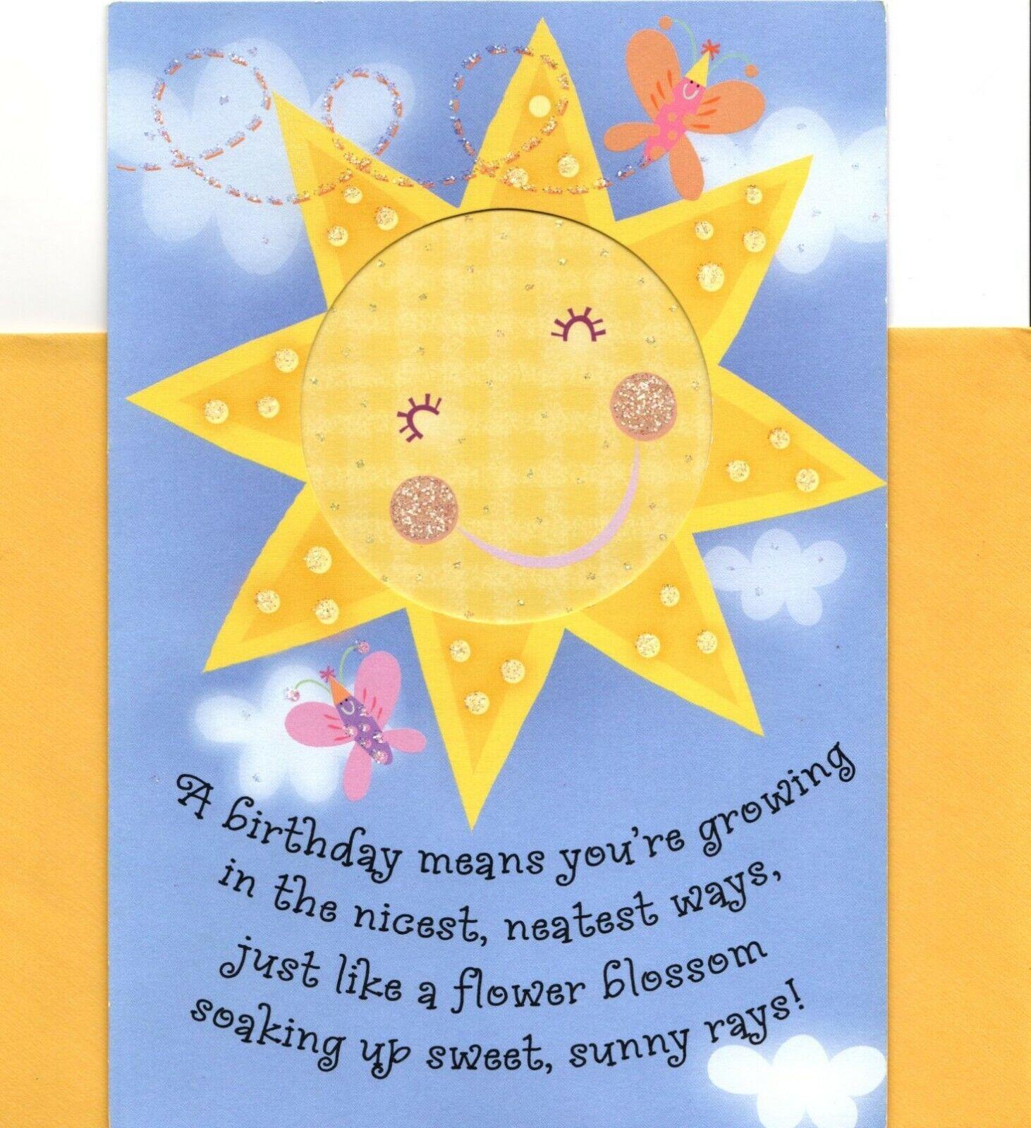 Greeting Card W// TRACKING BIRTHDAY Sun Sunbeams Henry Thoreau Quote GLITTERED