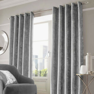 Details About Sienna Crushed Velvet Pair Of Fully Lined Ring Top Eyelet Curtains Silver Grey