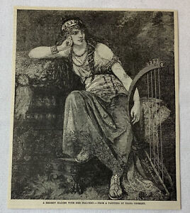1885-magazine-engraving-A-HEBREW-MAIDEN-WITH-HER-PSALTERY-Diana-Coomans