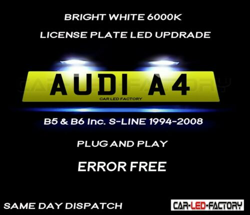 Plug /& Play * Ajuste AUDI A4 B5 B6 S-LINE la bahía Blanco LED Número De Matrícula Bombilla