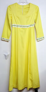 24a8cc92326c7 Vintage Maxi Dress Hand Made Mod Yellow Polyester Empire Waist Prom ...