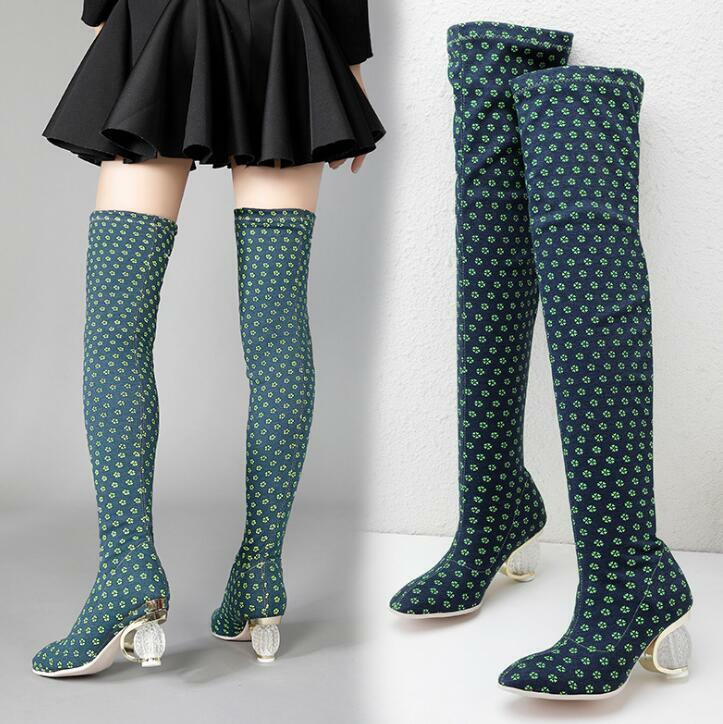 Stretchy Donna Green Floral Rhinestone Block Shoes Over Knee Booties Party Sz