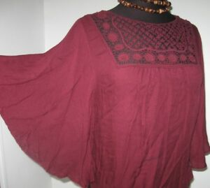 Aeropostale-Women-039-s-Blouse-Boho-Peasant-Lace-Top-Maroon-size-X-Small