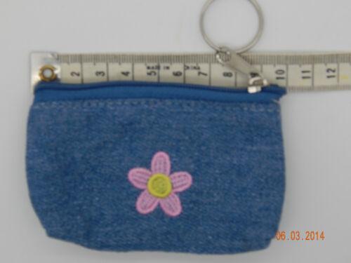 Pocket Money Bag clip Hair bobbles Kids Tuckshop Mini Denim Purse Key ring