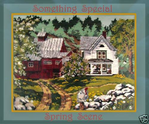 VINTAGE NEEDLEPOINT 1987 CANDAMAR FARM in SPRINGTIME Kit WOOL LG