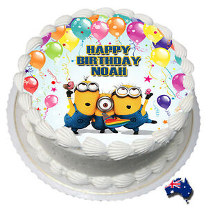 Groovy Minions Edible Icing Image Cake Topper Personalised Birthday Party Personalised Birthday Cards Cominlily Jamesorg