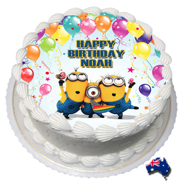 Minions Edible Icing Image Cake Topper Personalised Birthday Party Decoration